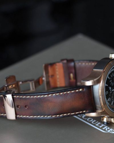 Artdeco1 vintage classy reddish brown leather strap by gunny straps shown on jaeger le coultre JLC and also for other wristwatch like rolex omega tag heuer patek philipe iwc breitling watch bands