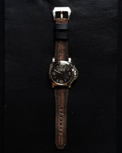 Japanese canvas brown patina scritto 02 - Gunny Straps Official