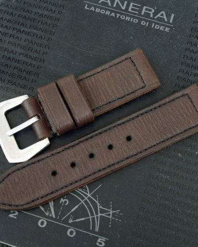 Dark Chocolate brown vintage leather strap by gunny straps for panerai rolex iwc tag heuer omega seiko and any other watches