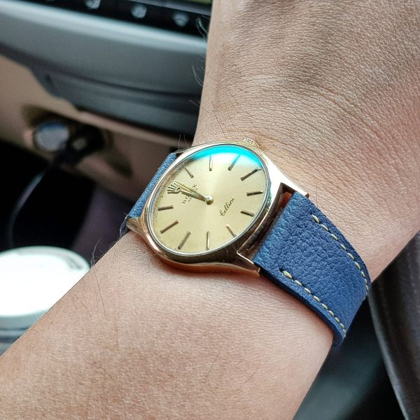 Pebble Airforce Blue elegant classic leather watch strap by gunny straps for dressy wristwatch looks rolex patek philippe lange soehne omega and any other vintage and modern watches