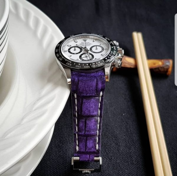 Purple Nubuck Crocodile strap by Gunny Straps shown on Rolex Daytona ceramic 116500ln with curved ends to replace endlink and you can request for straight ends leather strap.