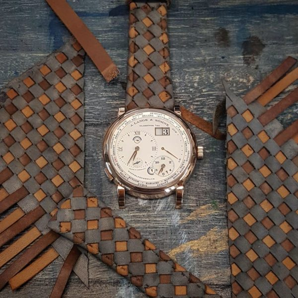 weaved 360 rolled edge grey brown 01 - Gunny Straps Official