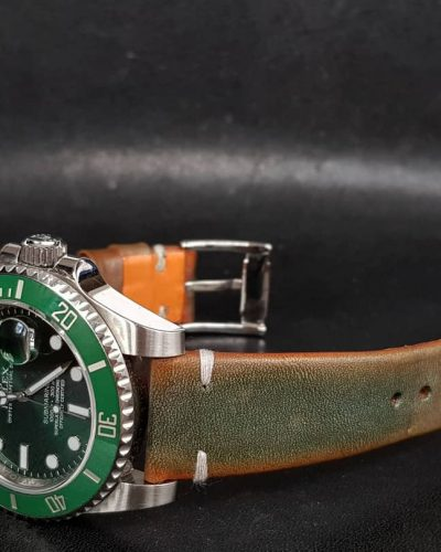 Gurney 3rd serie - Gurney 3 green orange minimalist strap shown on rolex hulk kermit submariner vintage style by gunny straps official handmade leather strap
