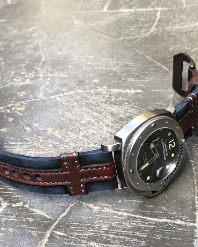 King Cross 1 perfect leather strap by Gunny Straps official online store in vintage blue and red color shown on Luminor Panerai Submersible patek hublot audemars rolex omega tudor iwc jlc