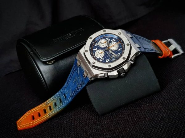 perfect leather strap called Two tone blue orange strap with scritto by Gunny Straps shown on Audemars Piguet Royal Oak Offshore