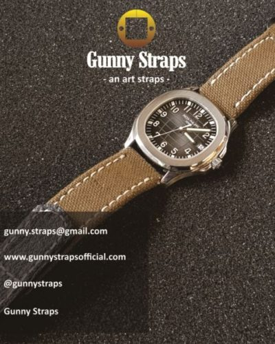 canvas khaki color with velcro closure strap for patek philippe aquanaut and ony other watch brands like panerai rolex audemars hublot from gunny straps official online store