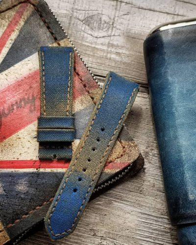 canvas two tone blue beige gunny straps for tudor and panerai strap with vintage style, the handmade watchstrap