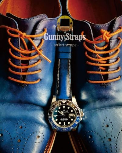 deep blnr2 blue leather strap for rolex gmt master batman pepsi and any other watch brands like omega tudor seiko from gunny straps online store