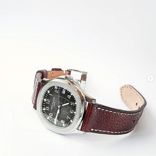 JKW leather dressy watch strap for patek philippe aquanaut and any other watch brands with thin leather burgundy color gunny straps