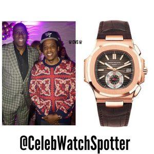 Jay-Z wearing Patek Philippe Nautilus 5980R