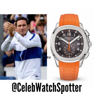 Frank Lampard wearing Aquanaut 5968A with orange strap (source: instagram @celebwatchspotter)