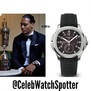 Virgil van Dijk (best football player in England) wearing Aquanaut 5164