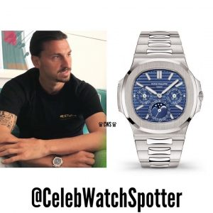 Zlatan Ibrahimovic (Sweden legend football player) wearing Nautilus  Perpetual Calendar 5740G