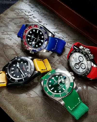 An elastic strap called kolor strap grey red blue green yellow orange by gunny straps official online store for rolex tudor richard mille patek panerai hublot audemars omega seiko
