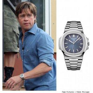 Brad Pitt wearing Patek Philippe Nautilus 5711/1A