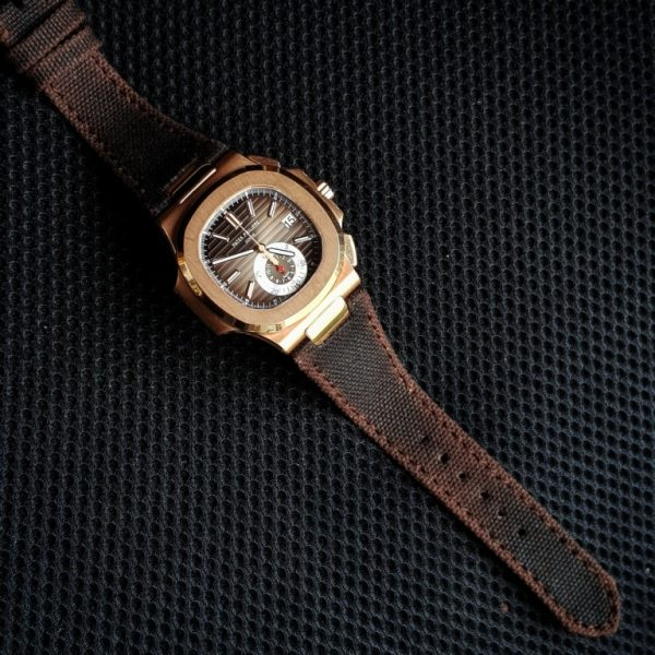 canvas 2 tone black brown on patek philippe nautilus 5980 by gunny straps official online store