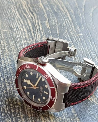 canvas 2 tone black red on tudor watches 1 by gunny straps official online store