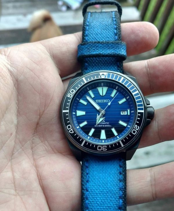 canvas 2 tone blue black on watchjawns seiko watch 1 by gunny straps official online store