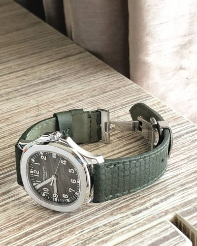 chessboard khaki green the perfect leather strap for patek aquanaut by gunny straps official online store