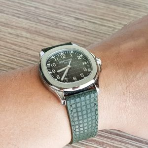 Patek Philippe Aquanaut 5167A attached on Khaki Chessboard made by Gunny Straps