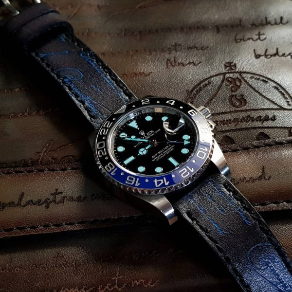 deep black blue scritto rolex batman