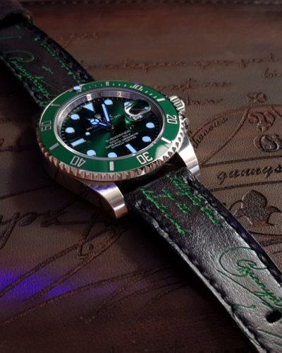 deep black green scritto rolex hulk gunny straps