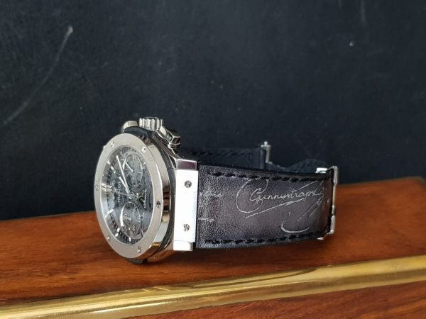 deep black silver scritto hublot gunny leather straps