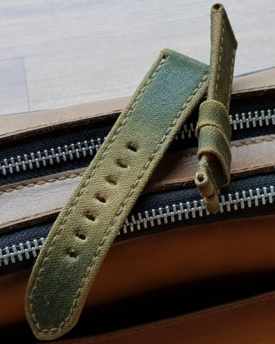 two tone perfect canvas strap green beige