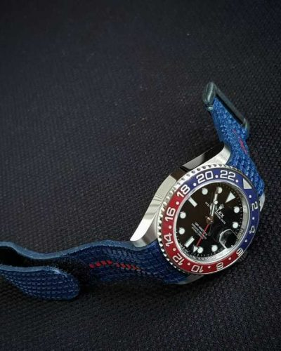 extreme chessboard blue with velcro closure system on rolex gmt pepsi