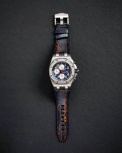 AP Dark Blue Patina with Orange Scritto gunnystraps