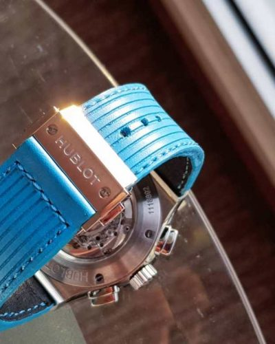 flight eagle cyan an unique leather strap made by gunny straps for hublot
